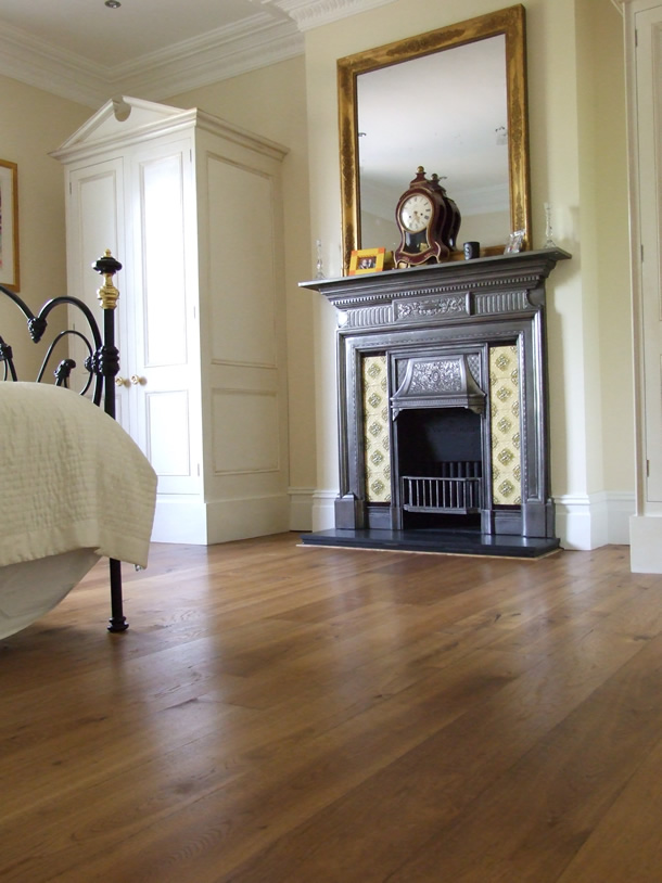 01 Distressed and fumed oak planks for an Edwardian house in Camberley, Surrey
