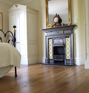 Distressed and fumed oak planks for an Edwardian house in Camberley, Surrey