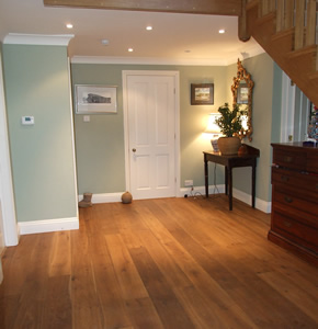 Fumed oak planks for a farmhouse in Haslemere, Surrey