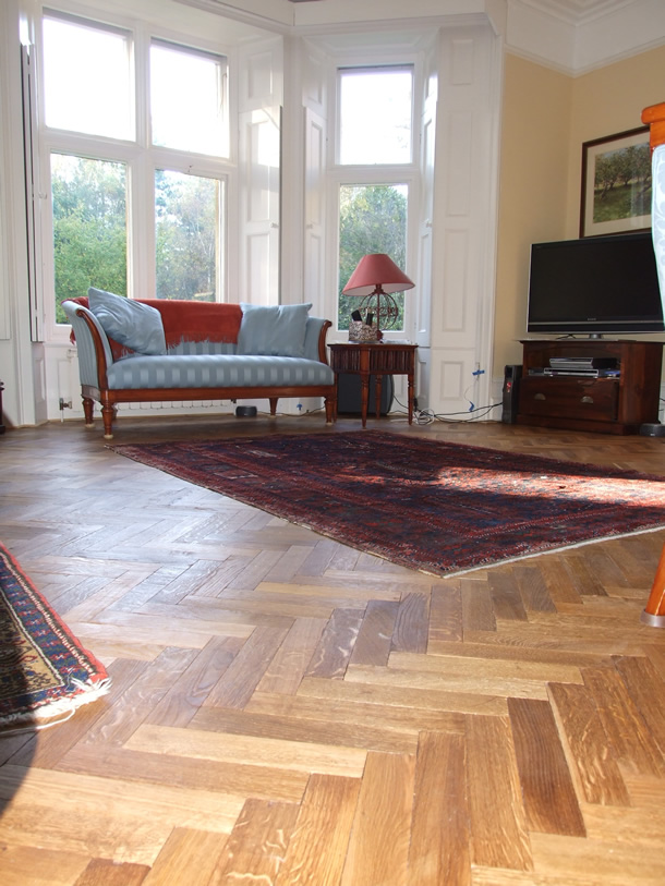 Fumed Oak Herringbone Parquet For Victorian House In