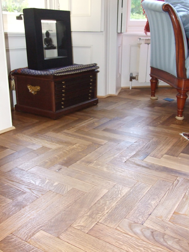 02 Fumed oak herringbone parquet for Victorian House in Sunningdale, Berks