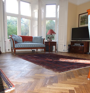 Fumed oak herringbone parquet for Victorian House in Sunningdale, Berks