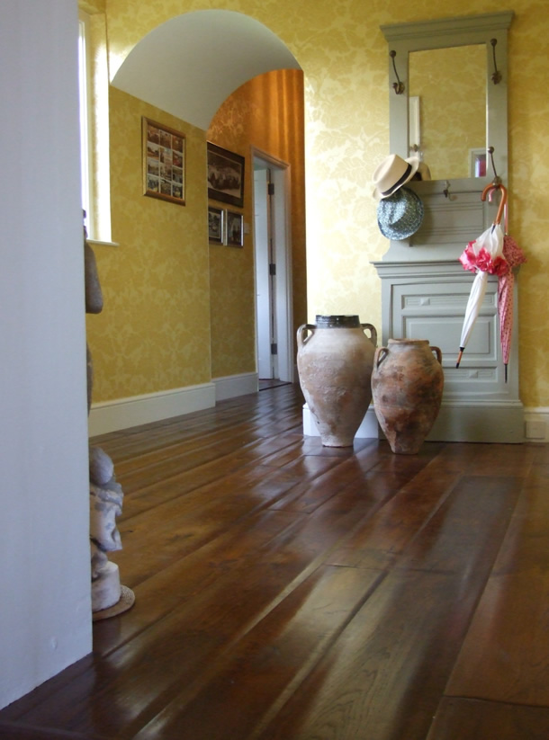 01 Hand scraped and stained oak planks for a Manor House in Ascot, Berks