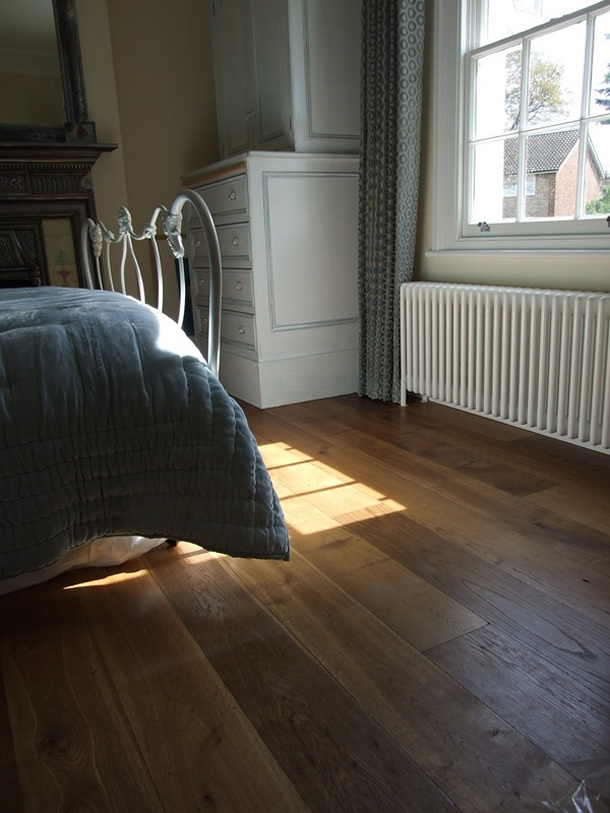 01 Distressed and smoked French oak for an Edwardian House in Farnham, Surrey