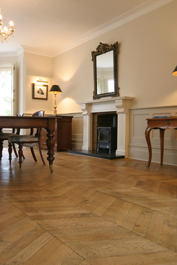 01 Hungarian point parquet for an Edwardian House in Guildford, Surrey
