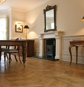 Hungarian point parquet for an Edwardian House in Guildford, Surrey