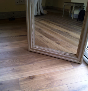 Smoked rustic oak with white oil for a lounge in Marylbourne, London