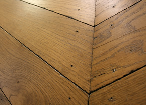 Solid Rustic French Oak Hungarian Point Parquet Distressed Blocks With Barley Wax Oil